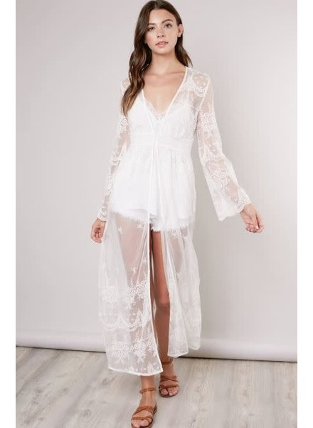 Sheer White Lace Duster