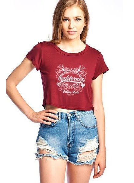 Burgundy California crop top