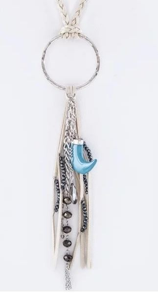 Cream Mixed Charmed Leather Necklace