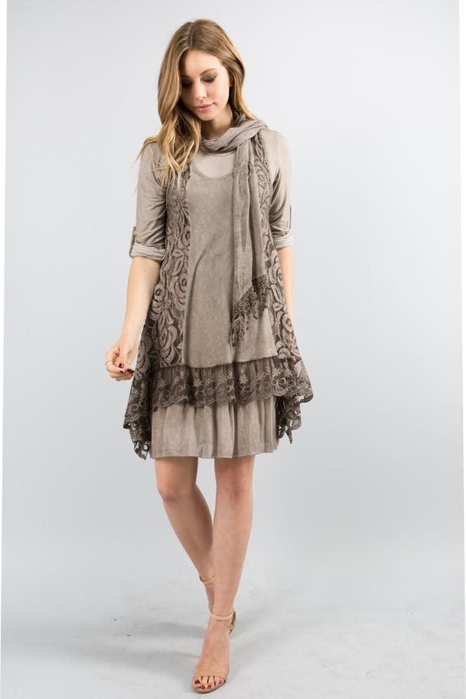 Lace Dress with Scarf