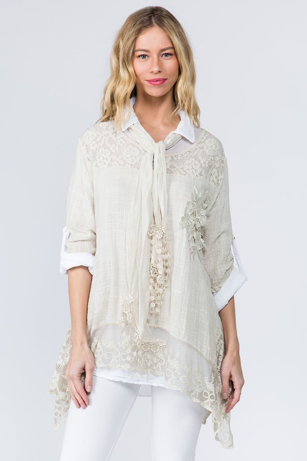 Floral Blouse with Scarf