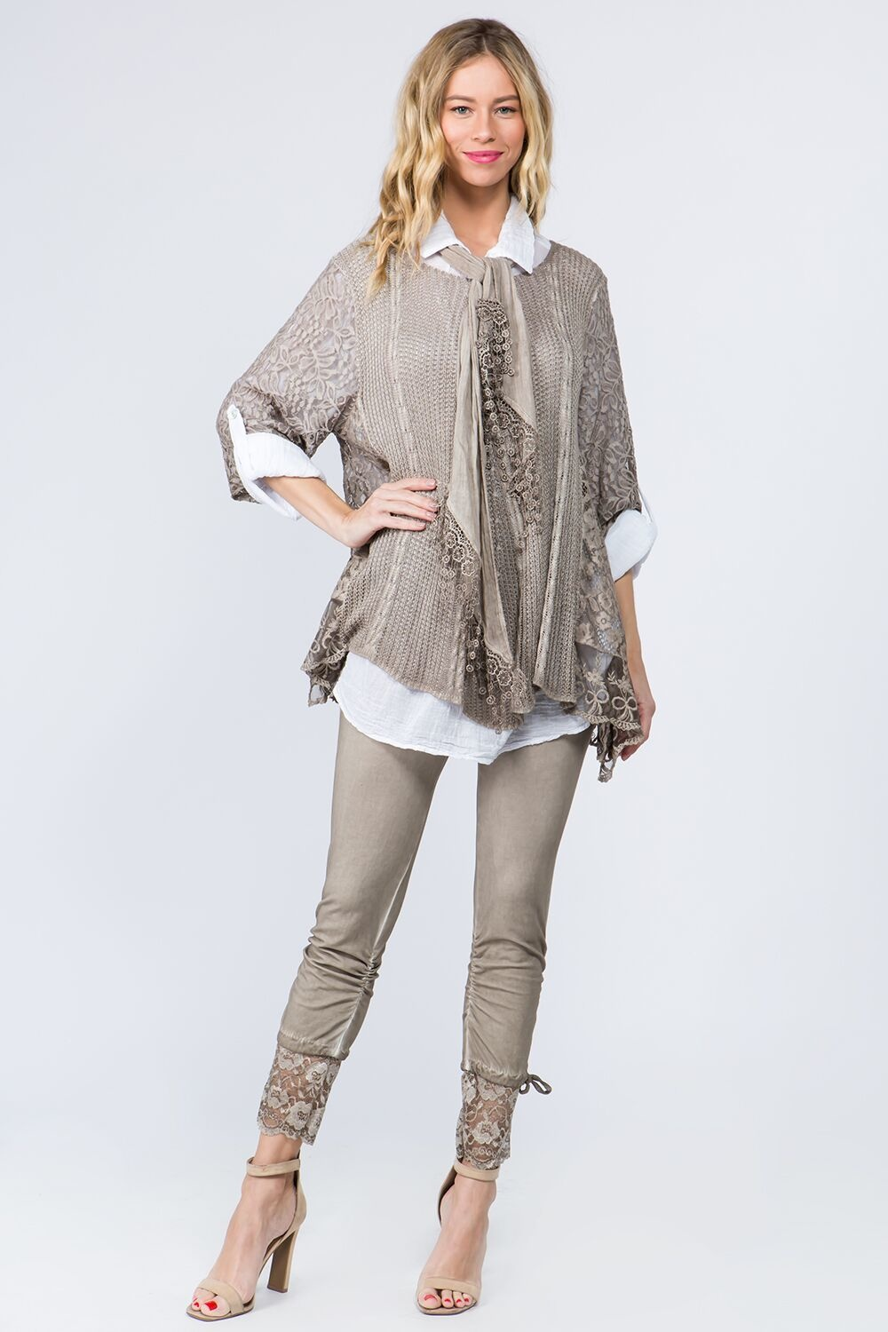 Floral Crochet Blouse with Scarf