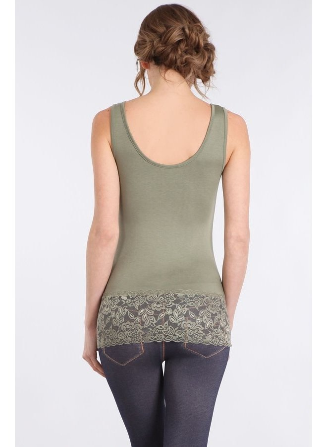 Olive Tank with Lace