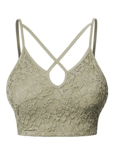 Floral Lace Y-neck Cropped Camisole - Sage