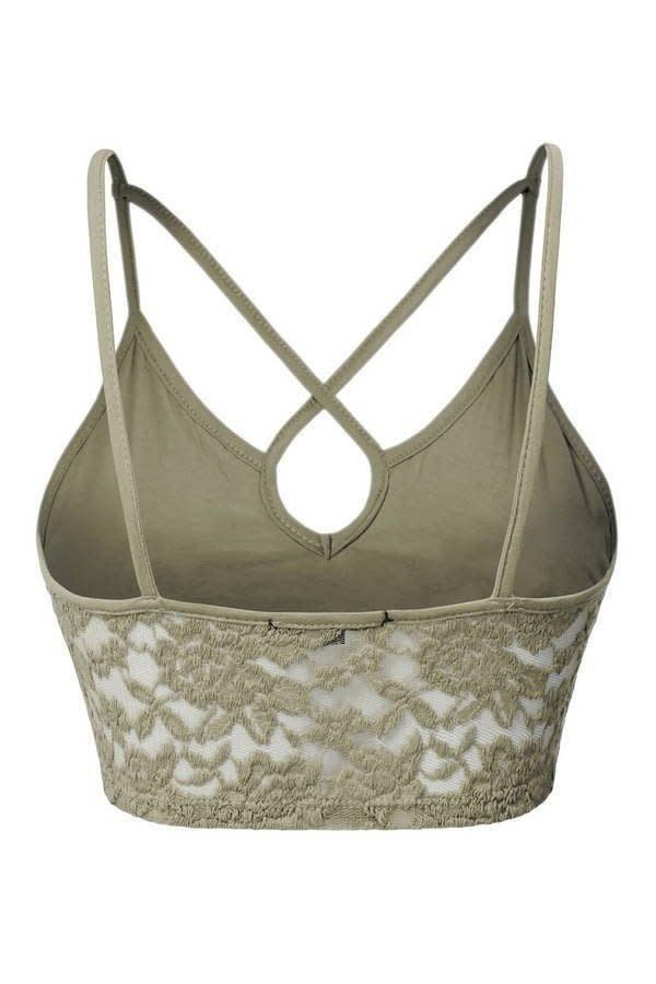 Floral Lace Y-neck Cropped Camisole - Sage