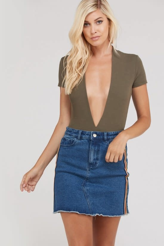 Deep V-Neck BodySuit -Olive