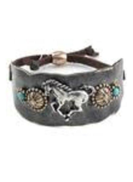 Silver/Bronze Adjustable Turquoise Stone Bracelet