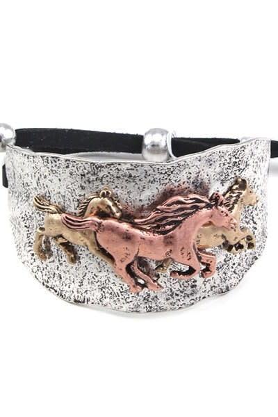 Silver/Bronze Adjustable Horse Bracelet
