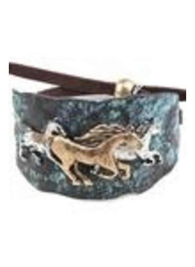 Turquoise/Bronze Adjustable Horse Bracelet