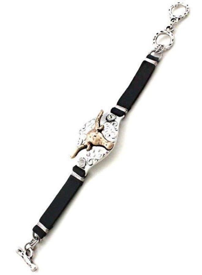 Silver Longhorn Leather Bracelet