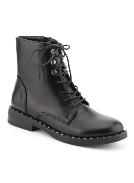 Lace Up Ankle Combat Boots- Black