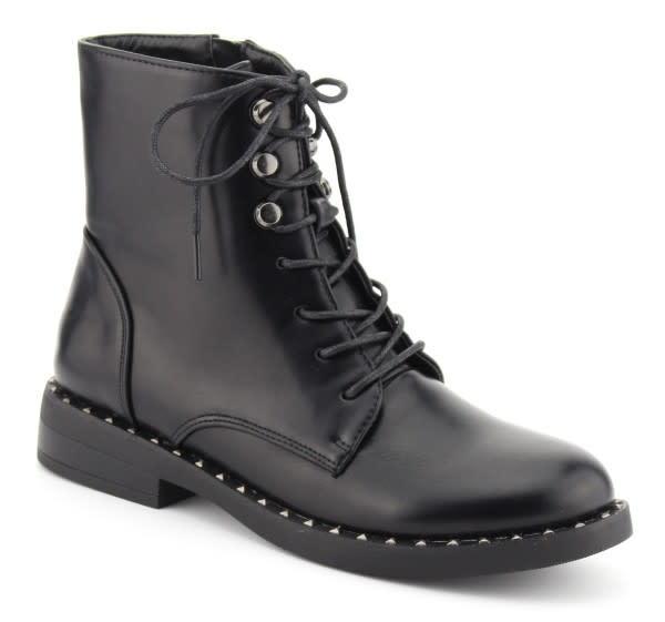 Lace Up Ankle Combat Boots- Black