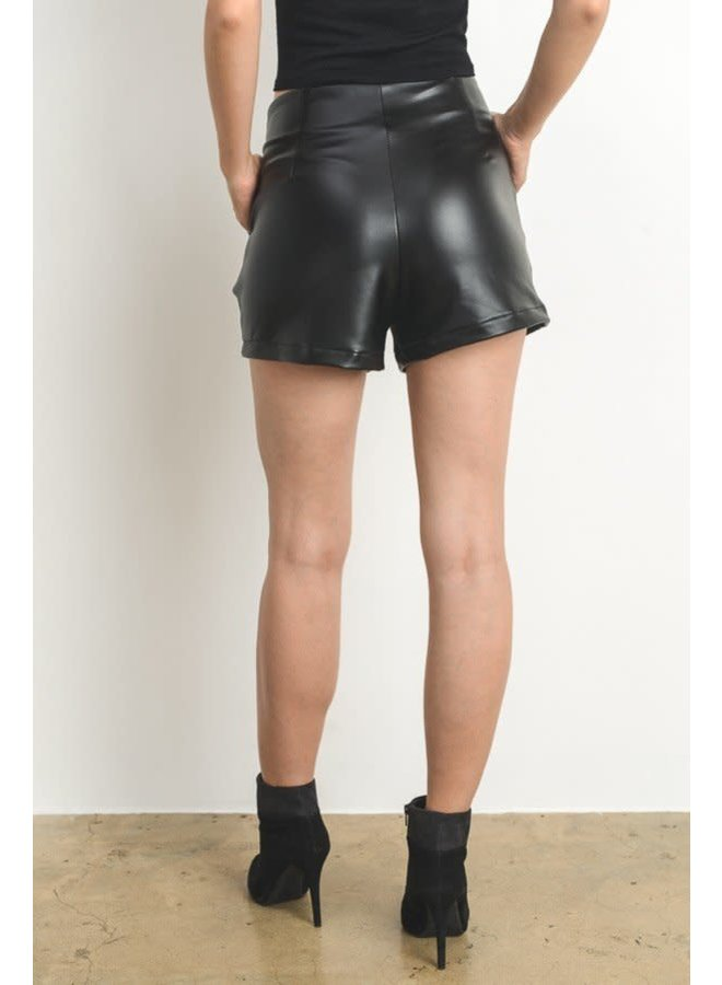 Faux Leather Shorts with Ring Detail - Black