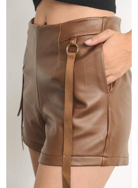 Faux Leather Shorts with Ring Detail - Camel