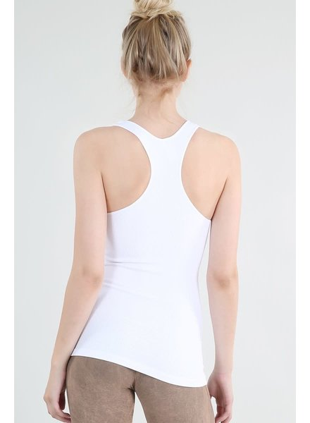 Ribbed Racer Back Tank- White