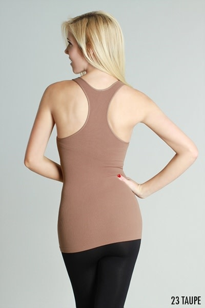 Ribbed Racer Back Tank- Cognac