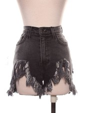 High Waist Distressed Black Denim Shorts