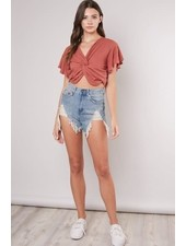 Distressed High Waist Denim Shorts