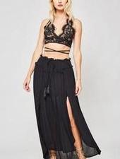 Woven Maxi Skirt with Drawstring - Black