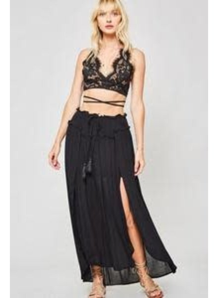 Woven Maxi Skirt with Drawstring - Black