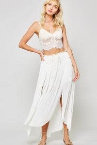 Woven Maxi Skirt with Drawstring - Off White