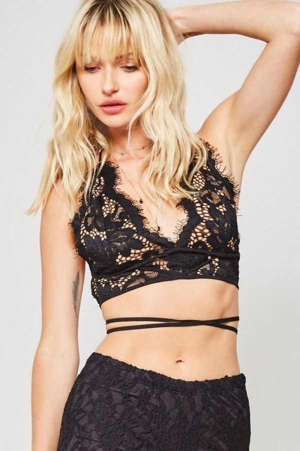 Sheer Black Lace Halter