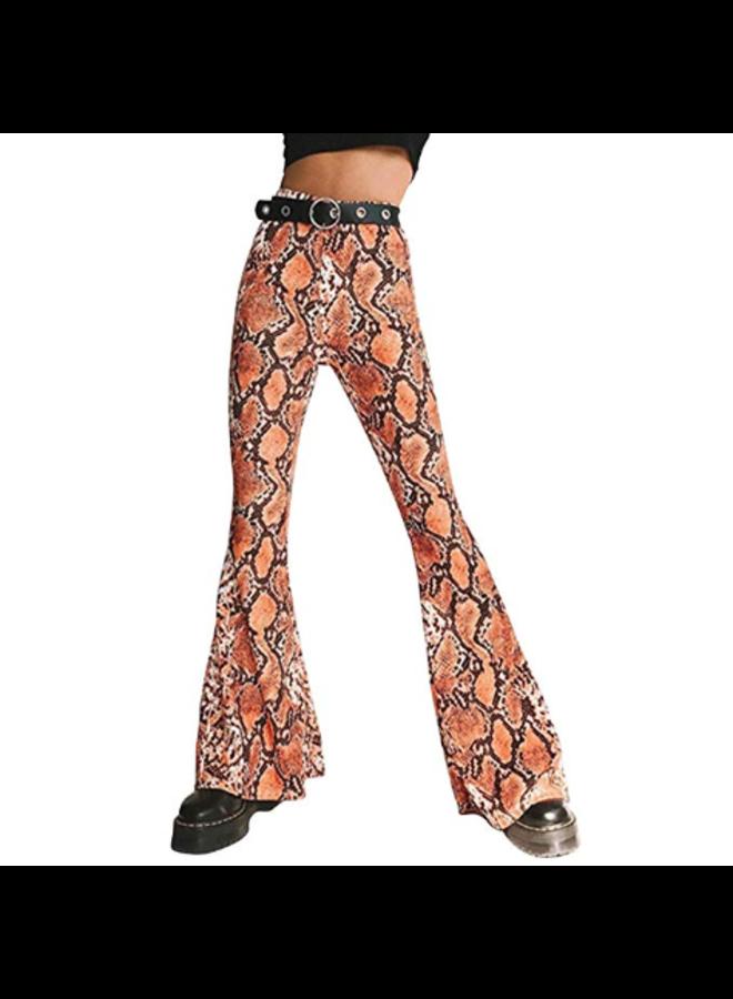 Retro Snake Print Boho Pants