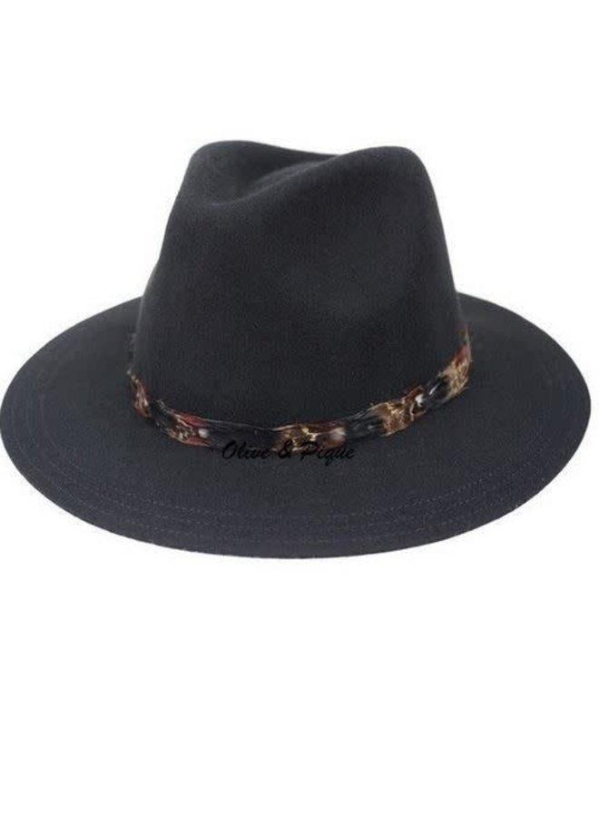 Boho Hat - Black Feather Trim