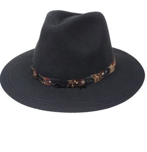 Boho Hat - Black Feather Trim