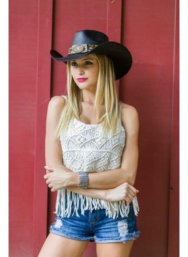 Genuine Panama Straw Cowboy Hat with Turquoise Flower- Black
