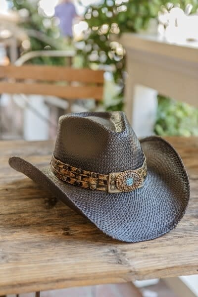 Genuine Panama Straw Cowboy Hat with Turquoise Flower- Black