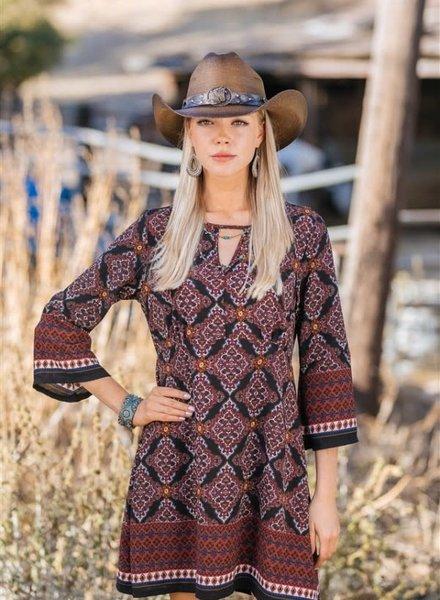 Genuine Bangora Cowboy Hat with Horse Detail- Brown