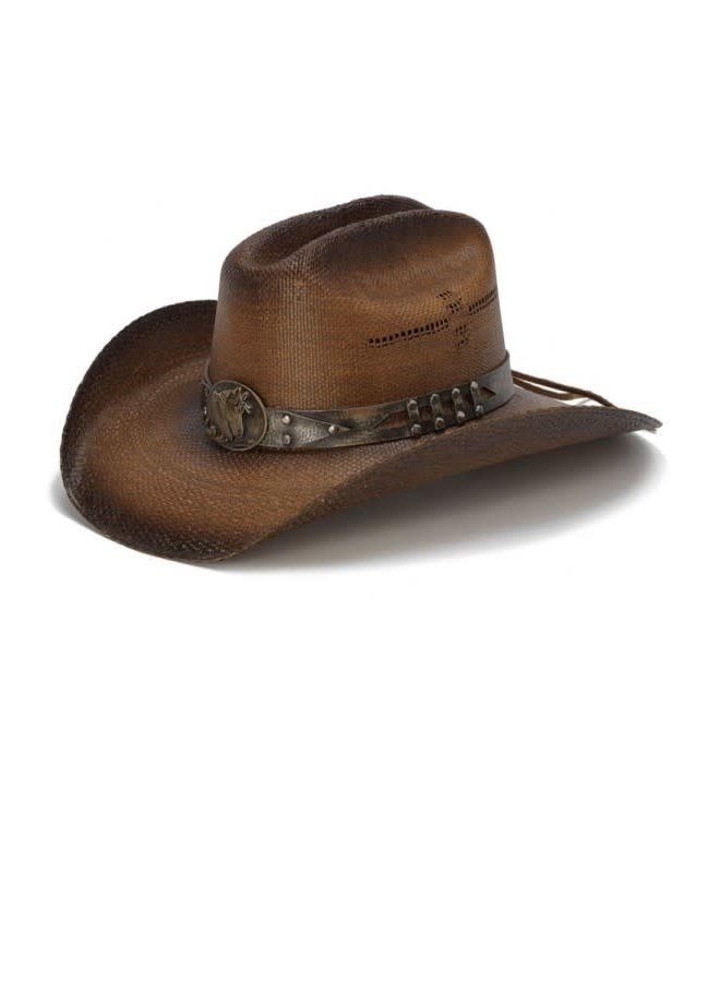 Genuine Bangora Cowboy Hat with Horse Detail- Brown