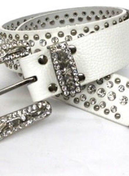 White Belt with Silver Rhinestones