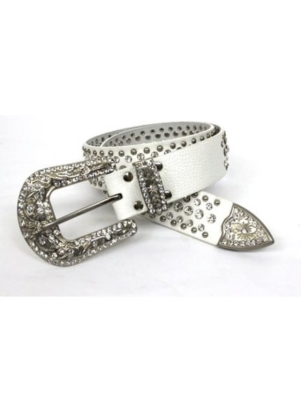 White Belt with Silver Rhinestones