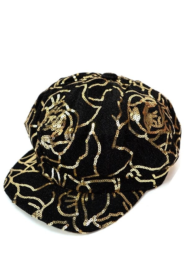 Gold Sequin Gatsby Hat