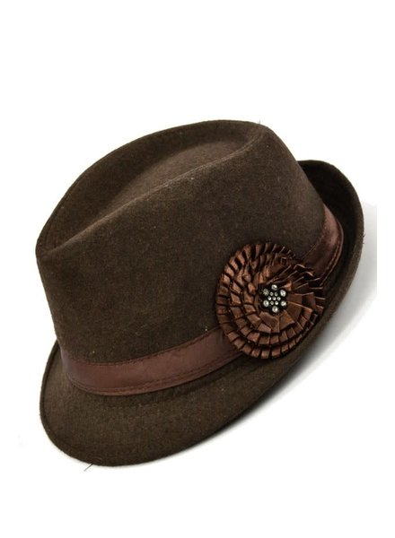 Fleece Fedora with Flower- Brown