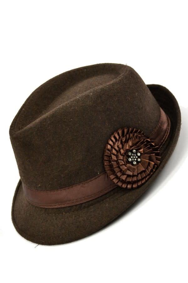 Fleece Fedora with Flower- Brown