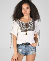 Embroidered Top with Beaded Drawstring