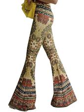 Highwaist Retro Floral Flare Boho Pants