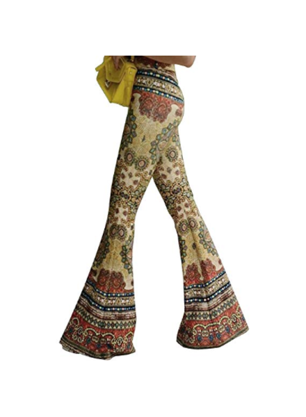 Highwaist Retro Floral Flare Boho Pants