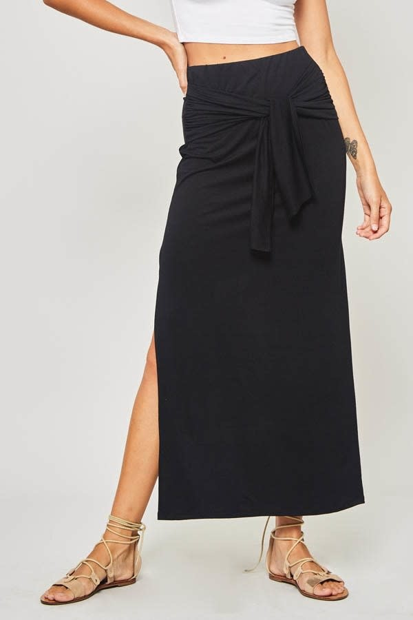 Black Maxi Skirt with Knotted Design