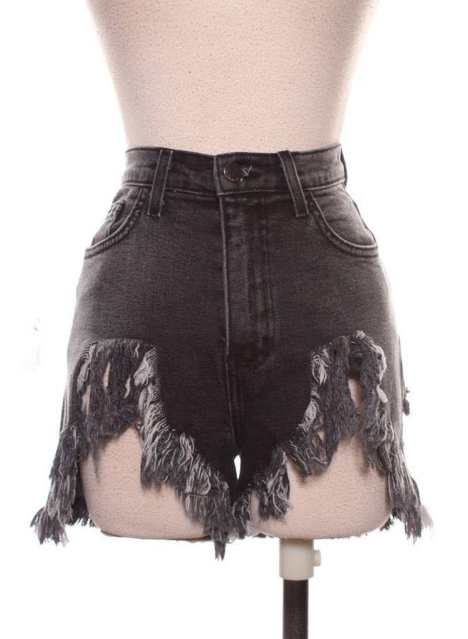High Waist Distressed Black Denim Shorts