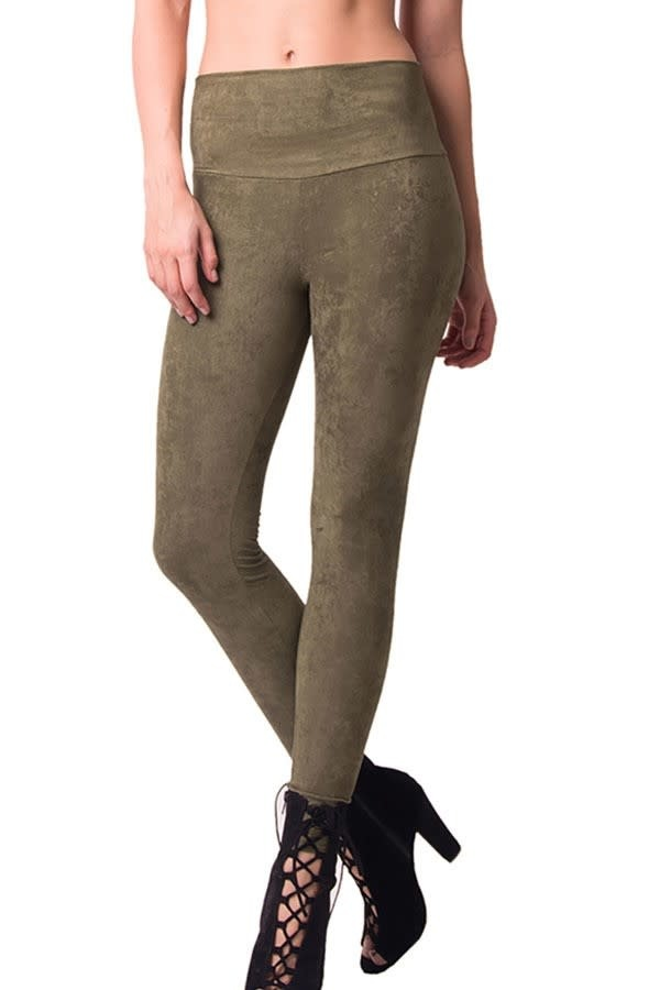 High Waist Suede Leggings- Olive