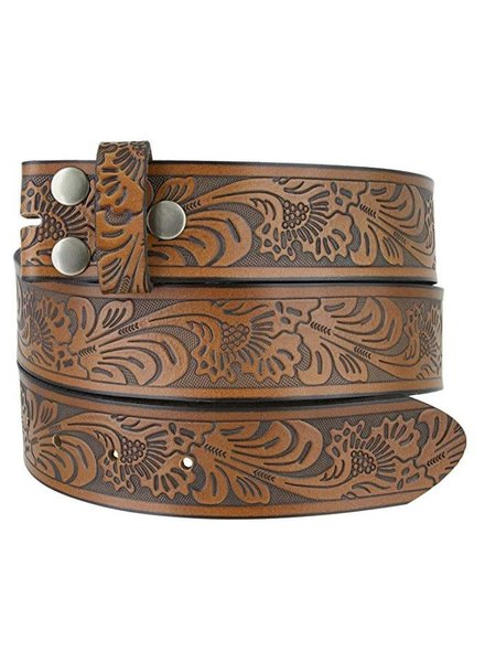 Western Embossed Brown Leather Belt S/M
