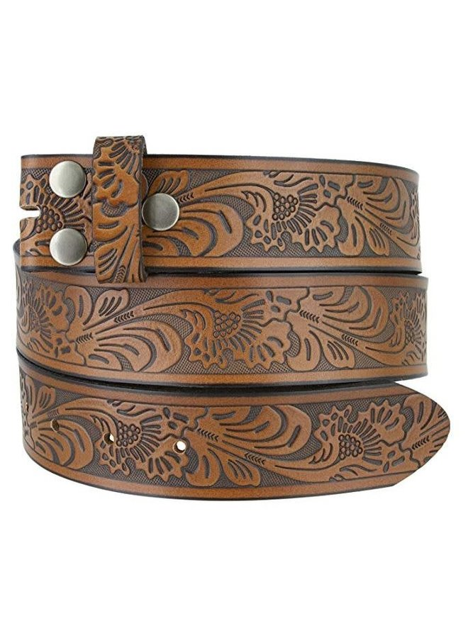 Western Embossed Brown Leather Belt S/M