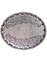 Flower Engraved Oval Belt Buckle