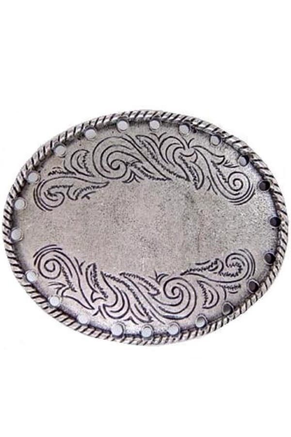 Flower Engraved Oval Belt Buckle