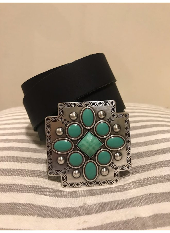 Black Boho Belt with Turquoise Cross Buckle