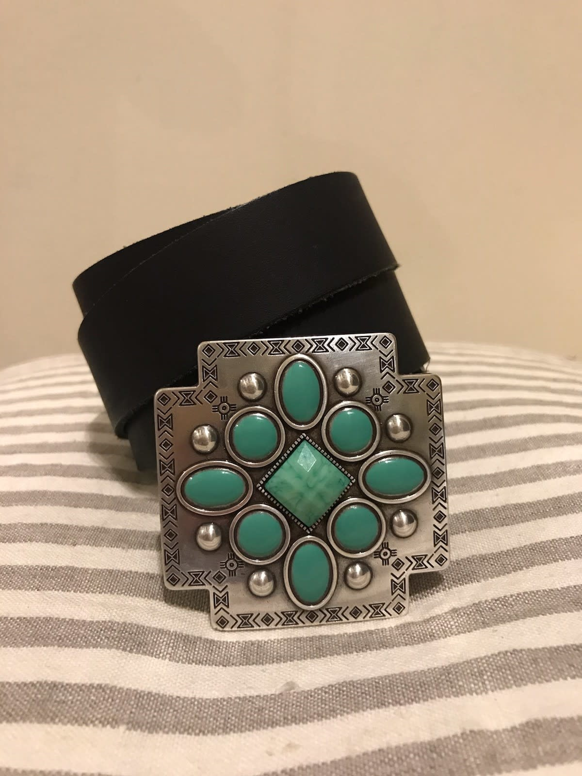 Black Boho Belt with Turquoise Cross Buckle